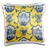 3dRose Garden French Toile. Yellow & Blue. Popular Toile Print. - Pillow Case, 16 by 16-inch (pc_218087_1)