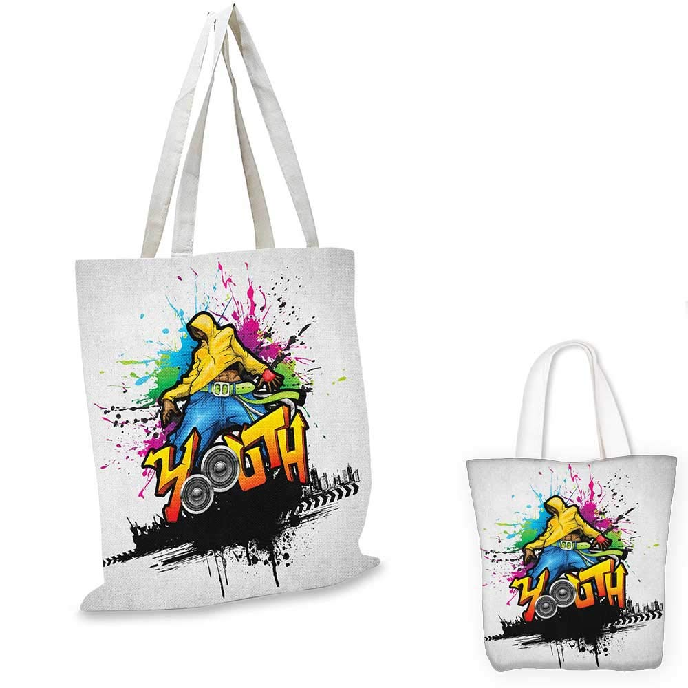 Youth canvas messenger bag Jumping Skateboarder Scribble Sketch Art on Striped Backdrop with Grunge Effects canvas beach bag Multicolor 12x15-10
