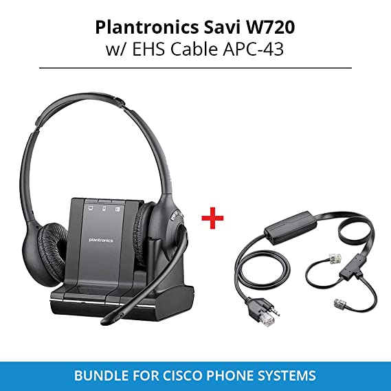 ecf5a954bd5 Amazon.com: Plantronics Savi W720 Duo Wireless Headset with EHS ...