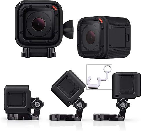 micros2u Carcasa de Perfil Bajo con Soporte. Compatible con GoPro Hero Session 5, 4 y cámaras de acción. Ideal para motos, bicicletas, cascos