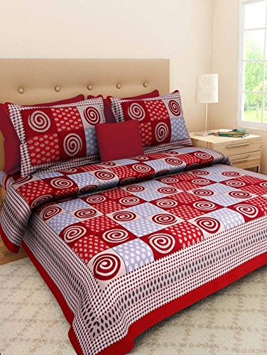 Jaipur to Home 100% Cotton Rajasthani Tradition King Size Double Bedsheet with 2 Pillow Cover - Multi, 25