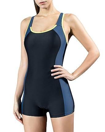 b85f0a7f4 StarTreene Women s One Piece Swimsuits Boyleg Sports Swimwear Bathing Suit ( Black-Navy-Yellow