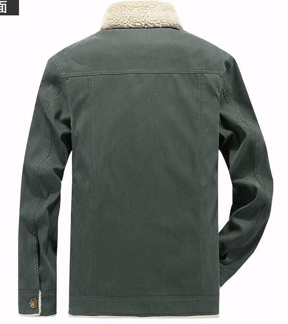 YYear Men Bomber Linen Fleece Outdoor Single Breasted Thicken Jacket Coat