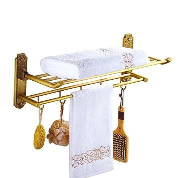 RJLI Estante del baño Estante de baño Plegable de Cobre ...