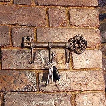 Garden Mile Vintage Estilo Antiguo Hierro Fundido Llave Estantería Gancho Soporte Toallero colgador de pared decorativo Llave Colgante Estantería ...
