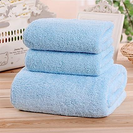 [1 toalla de baño + 2 toallas- coral fleece micro fibra suave toalla de