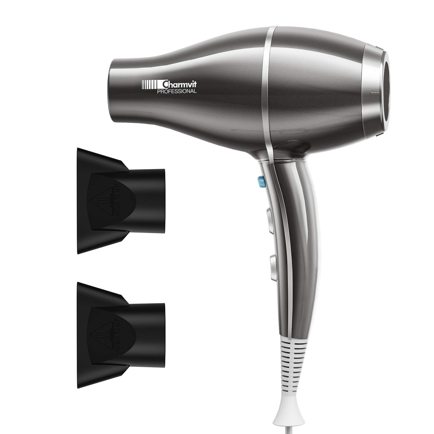 Professional Powerful 2000W Hair Dryer Negative Ion Blow Dryer, Fast Drying Low Noise Dryer with Nozzles, Constant Temperature for Smooth and Healthy Care, Silver Grey