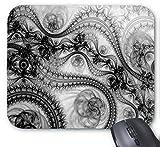 Black Lace Floral Design Mouse Pad 7x8.66 inch