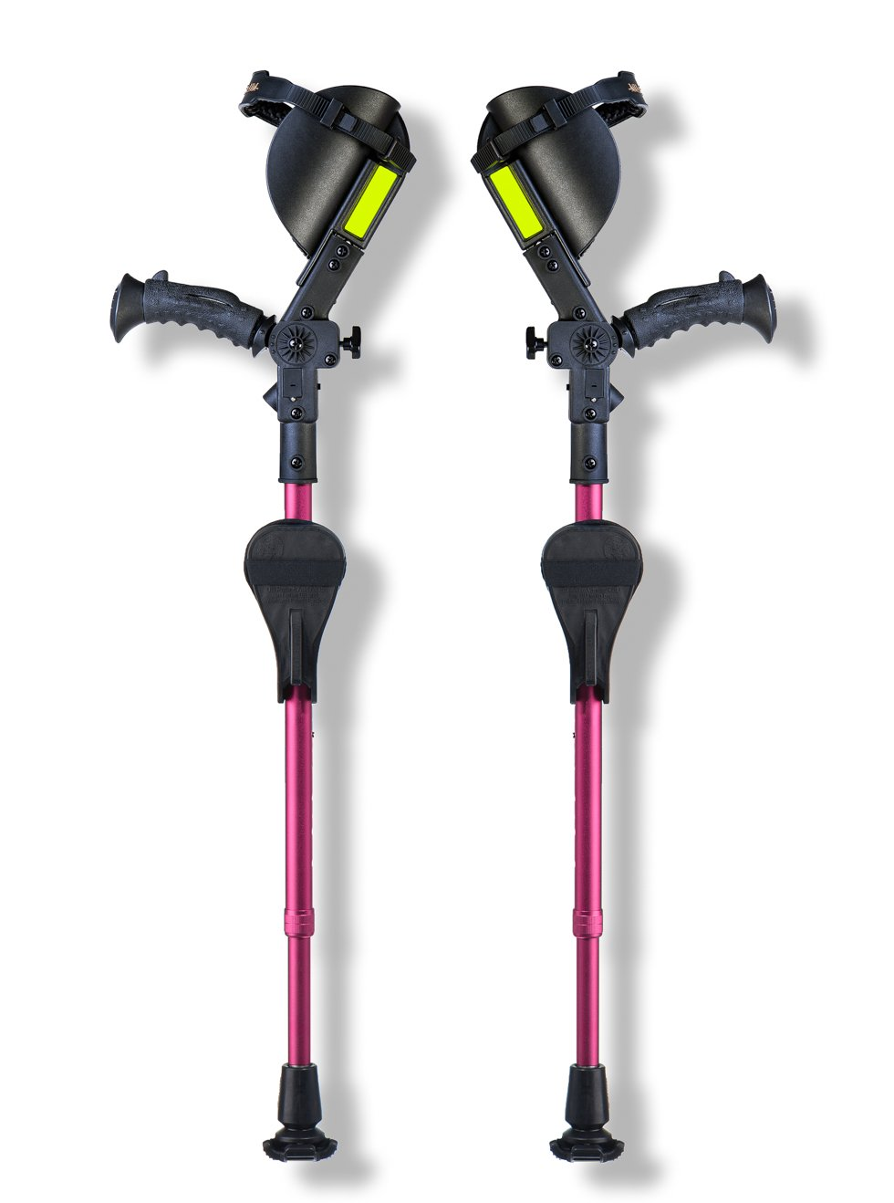 Ergobaum Junior Crutches. Adjustable (3'9 to 5') & Fully Ergonomic. Newest 3rd Generation With Smaller Cuff (Pink)