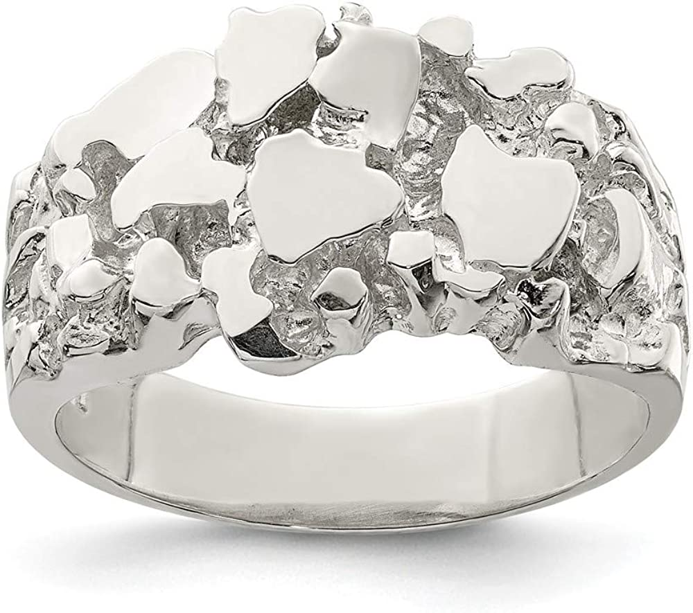Jewels By Lux Sterling Silver Mens Nugget Ring