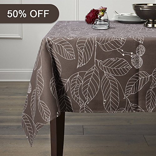 Lamberia 100% Cotton Canvas,Heavy Weight, Nature Leaves Printed Fabric Tablecloth 60-Inch-by-104 Oblong/Rectangle, Grey, Seats 10 to 12 People