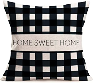 Asminifor Rustic Farmhouse Throw Pillow Covers Home Sweet Home Warm Quote Words Black White Plaid Grid Stripe Pillowcase Home Sofa Decor Cotton Linen Cushion Case 18x18Inch (RF-Home)