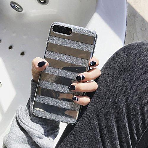 iPhone 7 Plus/iPhone 8 Plus Case for Girls,Opretty Bling Luxury Glitter Pretty Cute Powder Phone Case Mirror Reflex Striped Stars Pattern Back Cover for iPhone 7Plus/8Plus-silver