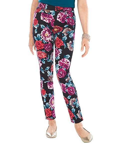 ecd978d490 Chico's Women's Sateen Rose-Print Jeggings Size 4 S (0 REG) Dark Floral