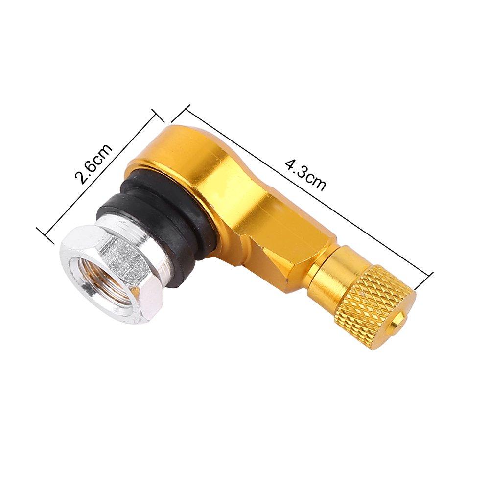 2pcs 11.3mm V/álvula de Neum/ático de Rueda de Motocicleta de Aleaci/ón de Aluminio 90 Grados Color : Oro