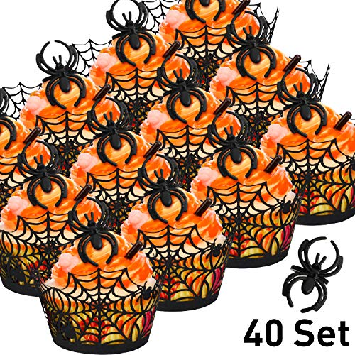 40 Sets Cupcake Wrappers Bake Cake Paper Cups and Plastic Rings Toy Rings Decorate Cake Decorative Accessories for Halloween Party (Spider Web, Black Spider