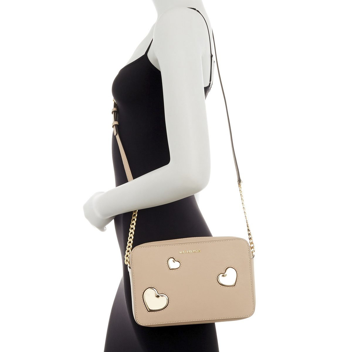 Michael Kors Oyster Leather Gold Peek a Boo Heart Large East West Crossbody by Michael Kors (Image #4)