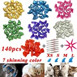 YMCCOOL 140pcs Cat Nail Caps - Pet Cat Kitty Soft Claws Covers Control Paws of 7 Shinning Glitter Crystal Colors Nails Caps and 7Pcs Adhesive Glue 7 Applicator with Instruction