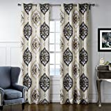 (Set of 2 panels) 25 Sizes Available 2(100″W x 108″L) Grommet Top Print Perfectly Symmetrical Pattern Blackout Lining Window Treatment Draperies & Curtains Panels