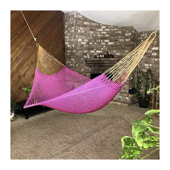 Ingalex New Rope Nylon Handmade Hammock Weather-Resistant Made in Venezuela Soft to The Touch Multicolored (Purple and Pink) - hammock handmade in Venezuela color: Yellow, Length: 11.10 ft Aprox. X Width:7 ft. Weight Capacity: 300 lbs. Hammock is Weather Resistant and washable in washing machine - patio-furniture, patio, hammocks - 61XqSAsehOL. SS570  -