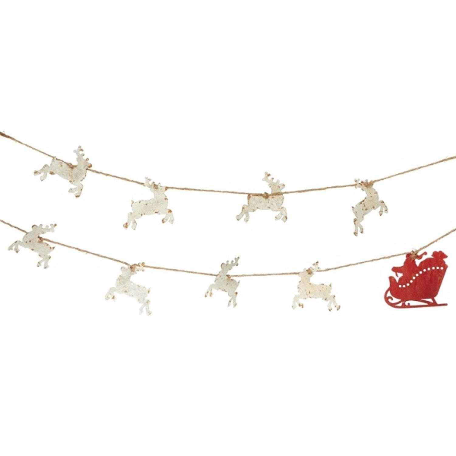 Midwest Gloves Pack of 4 Off White and Red Rustic Santa and Reindeer Garland Unlit 78''
