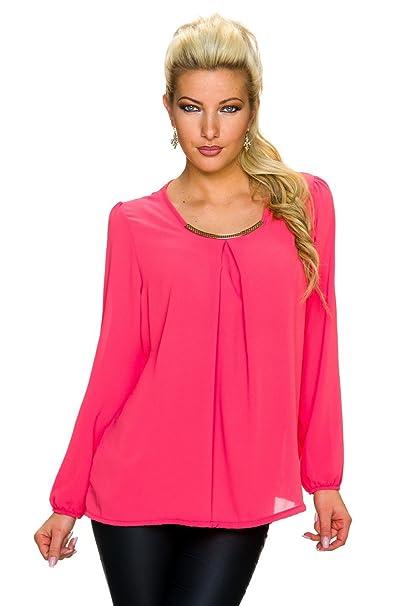 C & C Camiseta Blusa crepé túnica para mujer con metal Element de tejido crepe coral