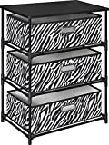 Altra Furniture 7776096 3-Bin Zebra Print Fabric Storage End Table