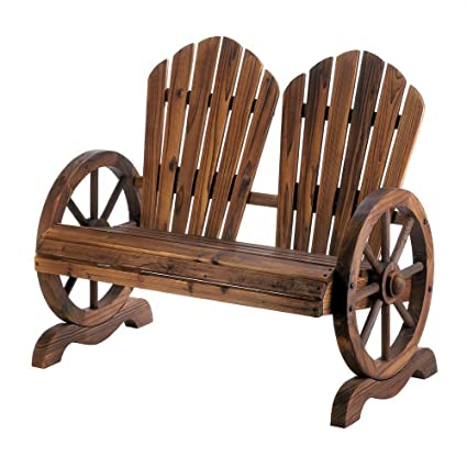 Rustic Wagon Wheel Coupleu0027s Bench Chair With Flared Backs