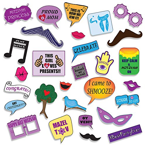Bat-Mitzvah-Photo-Booth-Props-DIY-Kit-Banners-Signs-Glasses-Mustaches-Jewish-Phrases-Etc-Girl-Scrapbook-or-Party-Favors-Idea-Decorations-Supplies-26-pcs-for-Multiple-Booths
