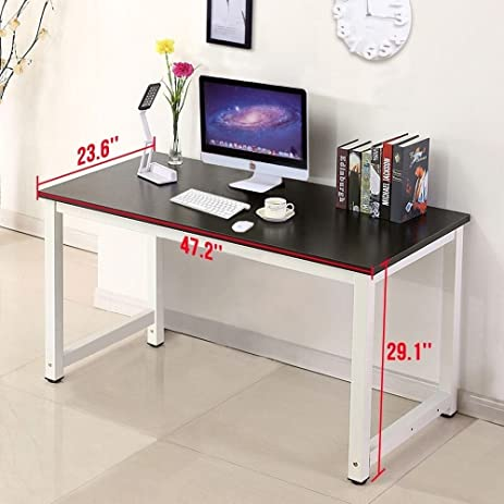 Amazon.com: Wood Black Computer Desk PC Laptop Table Workstation ...