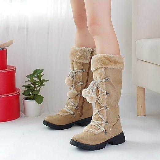 ❤ Botas de Tubo Alto para Mujer, Pelotas de Gamuza de Gamuza Redondas, Zapatos de tacón Cuadrado, Botas de Nieve con Cierre cálido Absolute: Amazon.es: ...