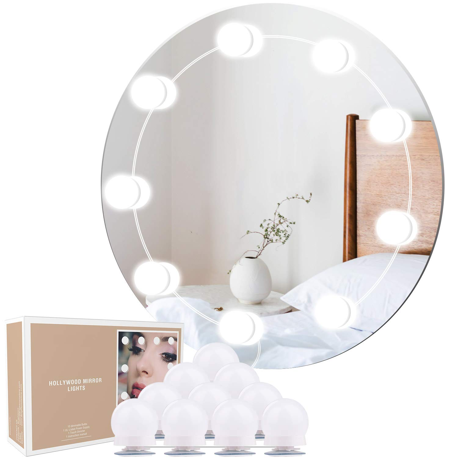 Minetom Hollywood Style Vanity Lights Kit for Vanity Mirror with Touch Dimmer, 10 LED Mirror Light Bulb Lighting Strip for Makeup Vanity Table Set in Dressing Room Bath Room (Mirror Not Include)