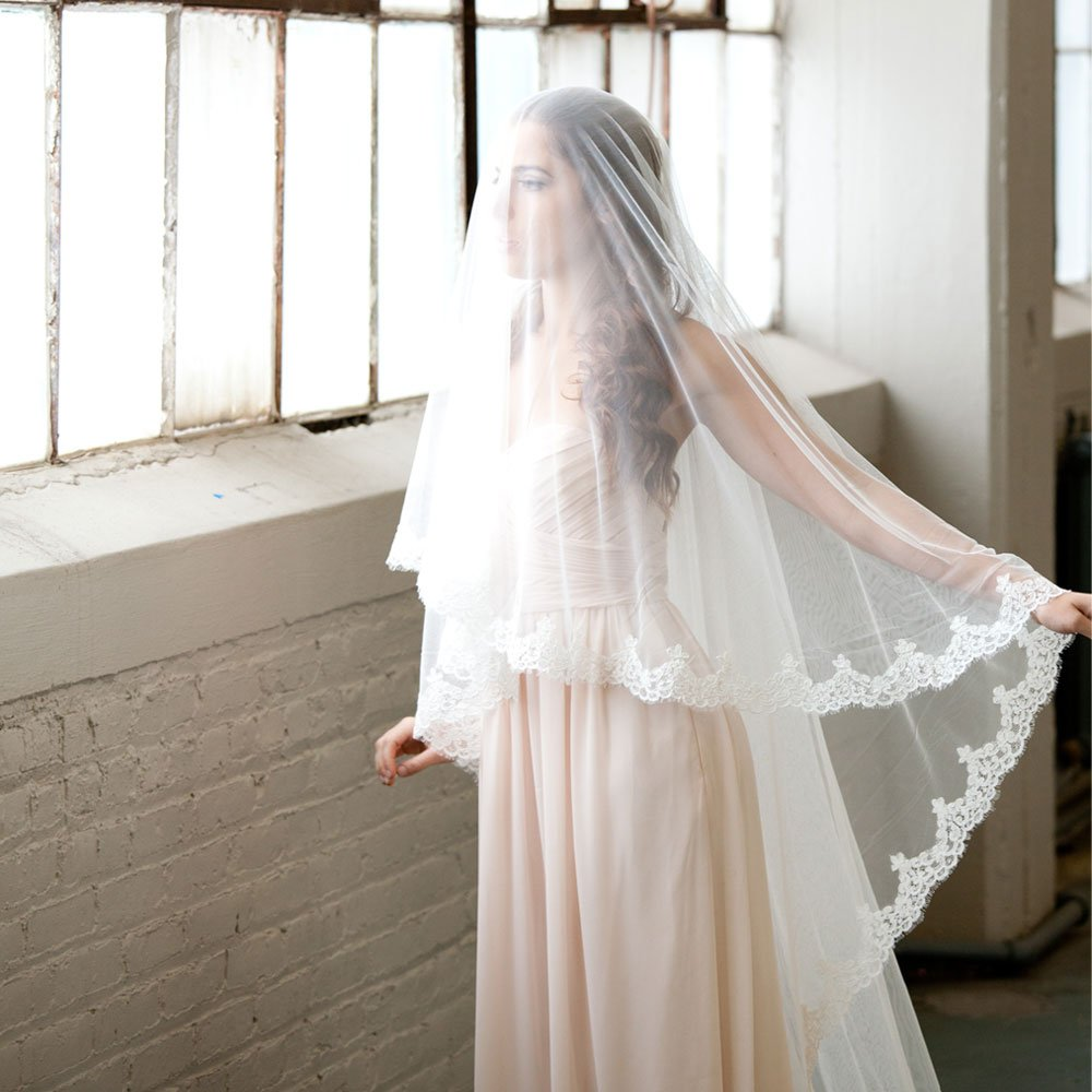 Lace Cathedral Mantilla Veil with French Alencon Lace by The Mantilla Company