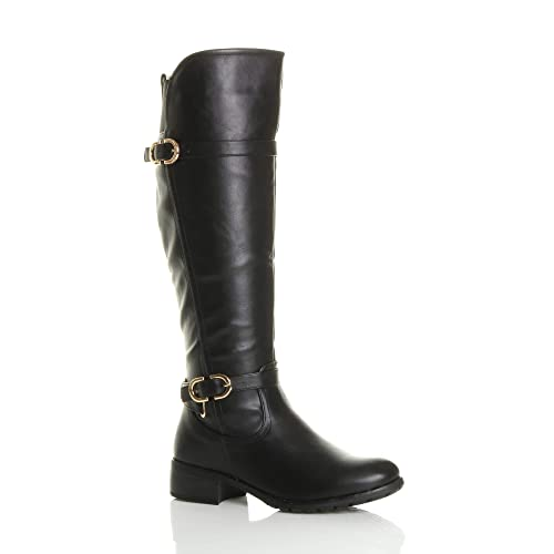 Ajvani Womens Ladies Low Heel Elastic Stretch Buckle Calf Riding Biker  Boots Size 3 36