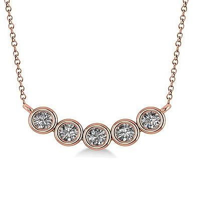 f6c7e26322a413 Women's Bezel Set Five-Stone Diamond Necklace in 14k Rose Gold (.25ct)