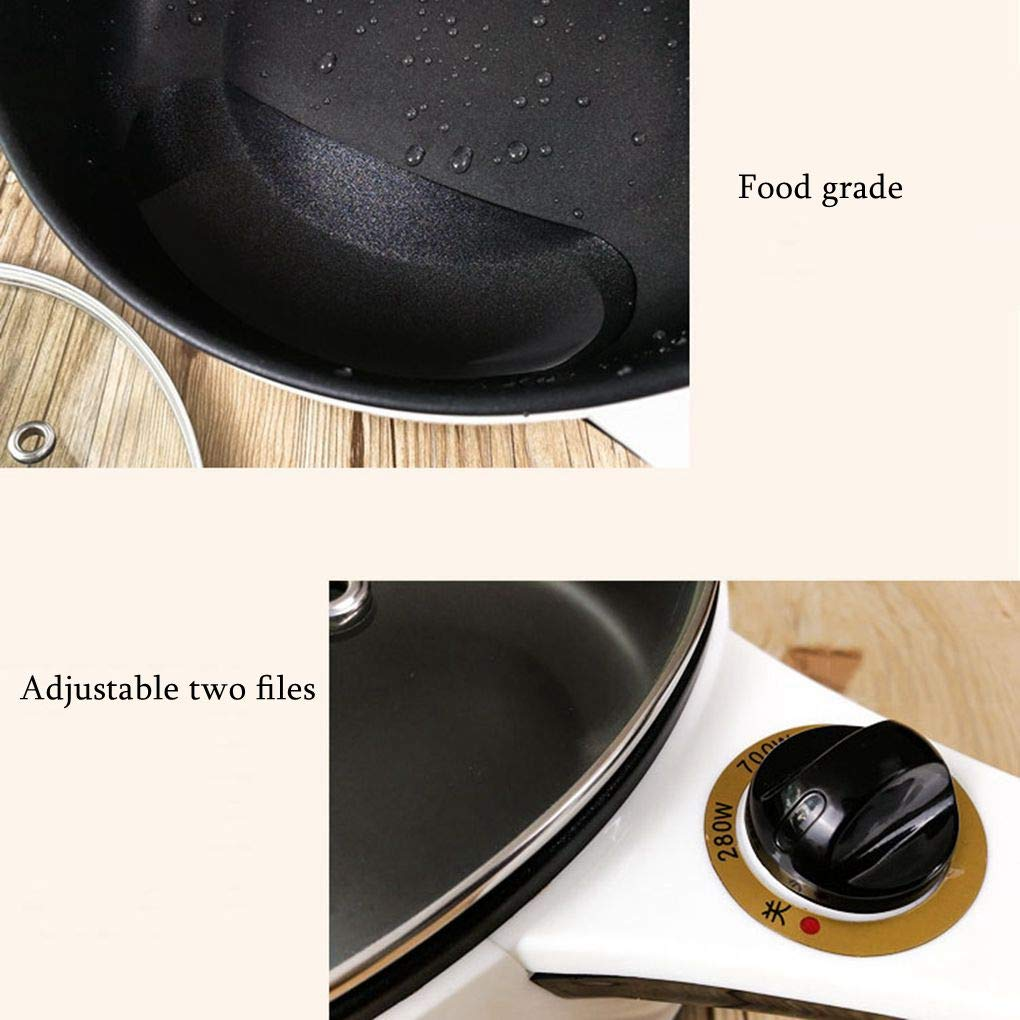 2L Electric Wok Versatile Mini Electric Hot Pot Dormitory Bedroom Stainless Steel Non-Stick Electric Cooker Use for Steak, Egg, Fried Rice, Ramen, Oatmeal by TSOICONN (Image #6)