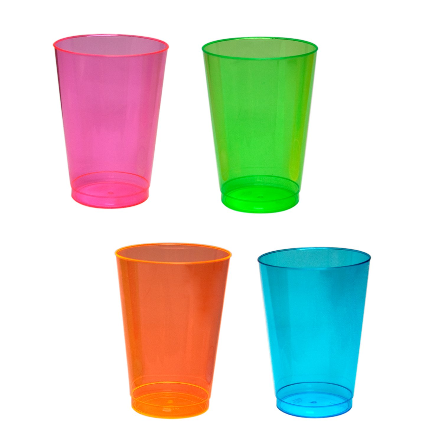 Party Essentials Hard Plastic 12-Ounce Party Cups, Assorted Neon, 40 Count by Party Essentials
