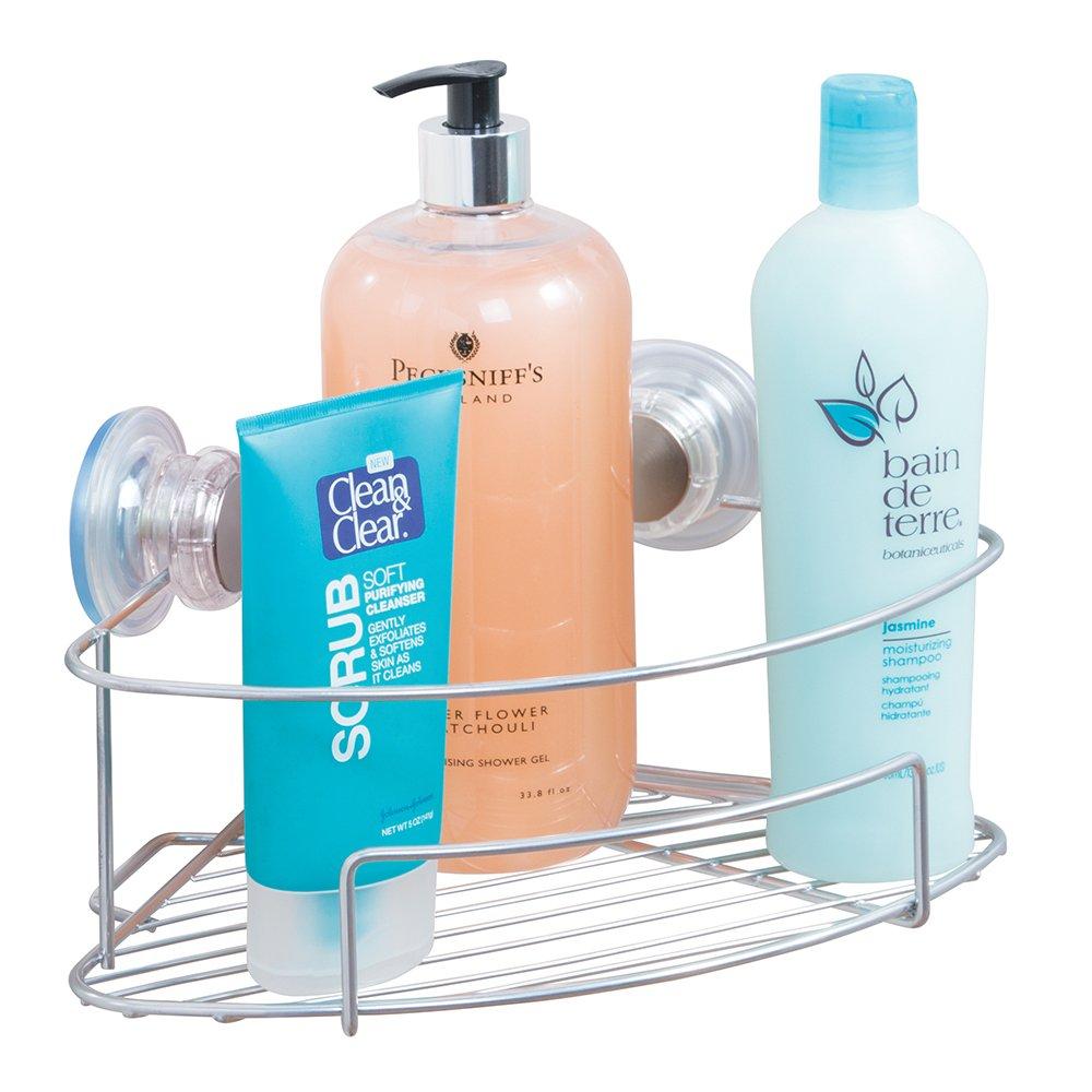 mDesign Turn-N-Lock Suction Bathroom Shower Caddy Corner Basket ...