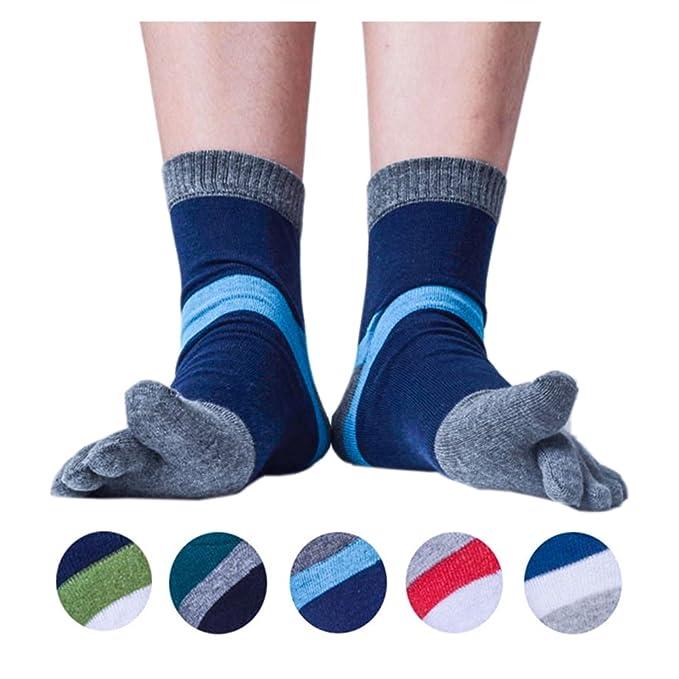 b973e06b2 Men s Toe Socks 5 Finger Crew Cotton (Pack of 4   5   6) at Amazon ...