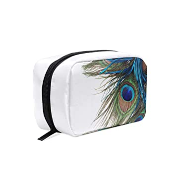4cb096c93d15 Amazon.com: Beautiful Exotic Peacock Feathers Cosmetic Bag Travel ...