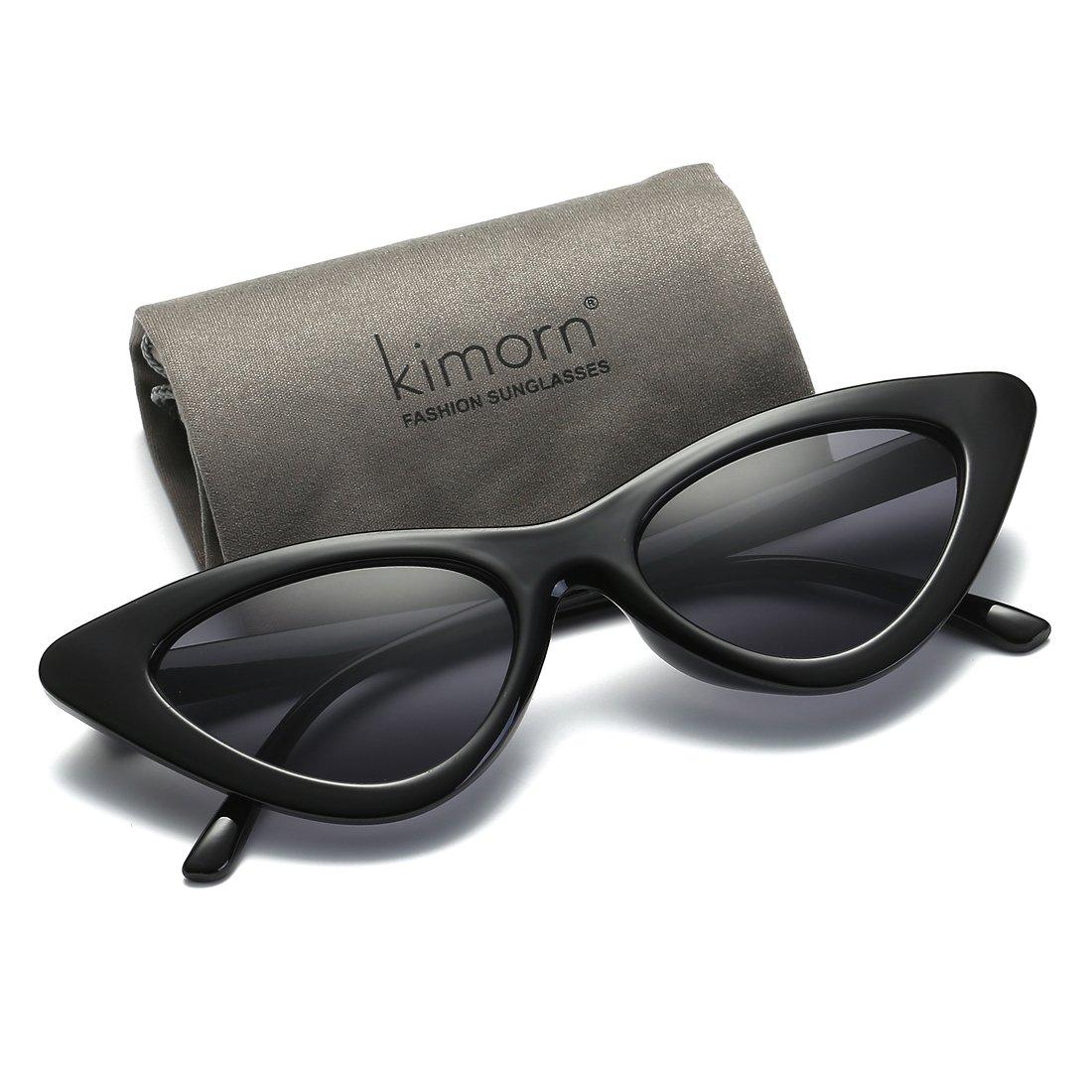 74b04f83c9 Kimorn Cat Eye Sunglasses For Women Clout Goggles Kurt Cobain Sun Glasses  K0566 (Black)  Amazon.co.uk  Clothing