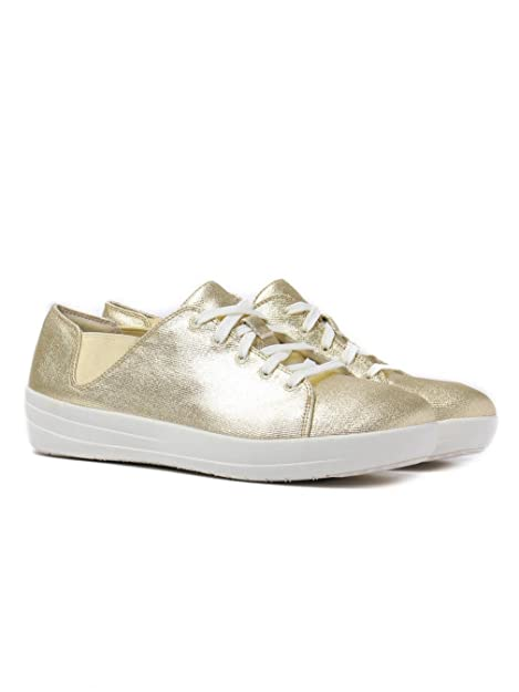Sporty Dorado Talla 40 Fitflop Mujer F Laceup De Canvas Sneakers IYb76ygvf