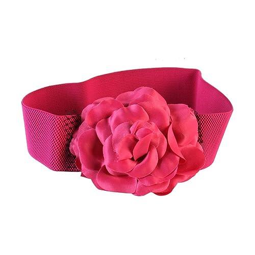 Sitong cinturones de vestir cintur¨®n ancho gran decoraci¨®n de la flor de las mujeres (3 colores)