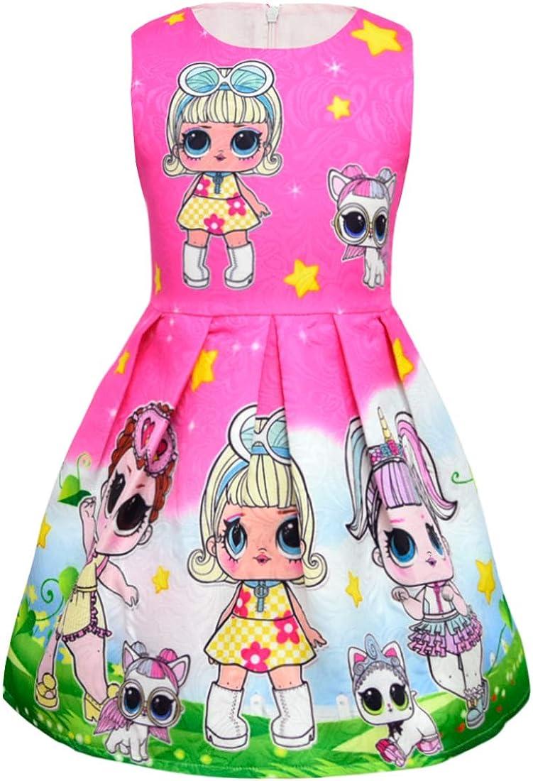 ALAMing LOL Girl Dress Summer Round Neck Sleeveless Big Dot Cartoon Short-Sleeved 3-8Years