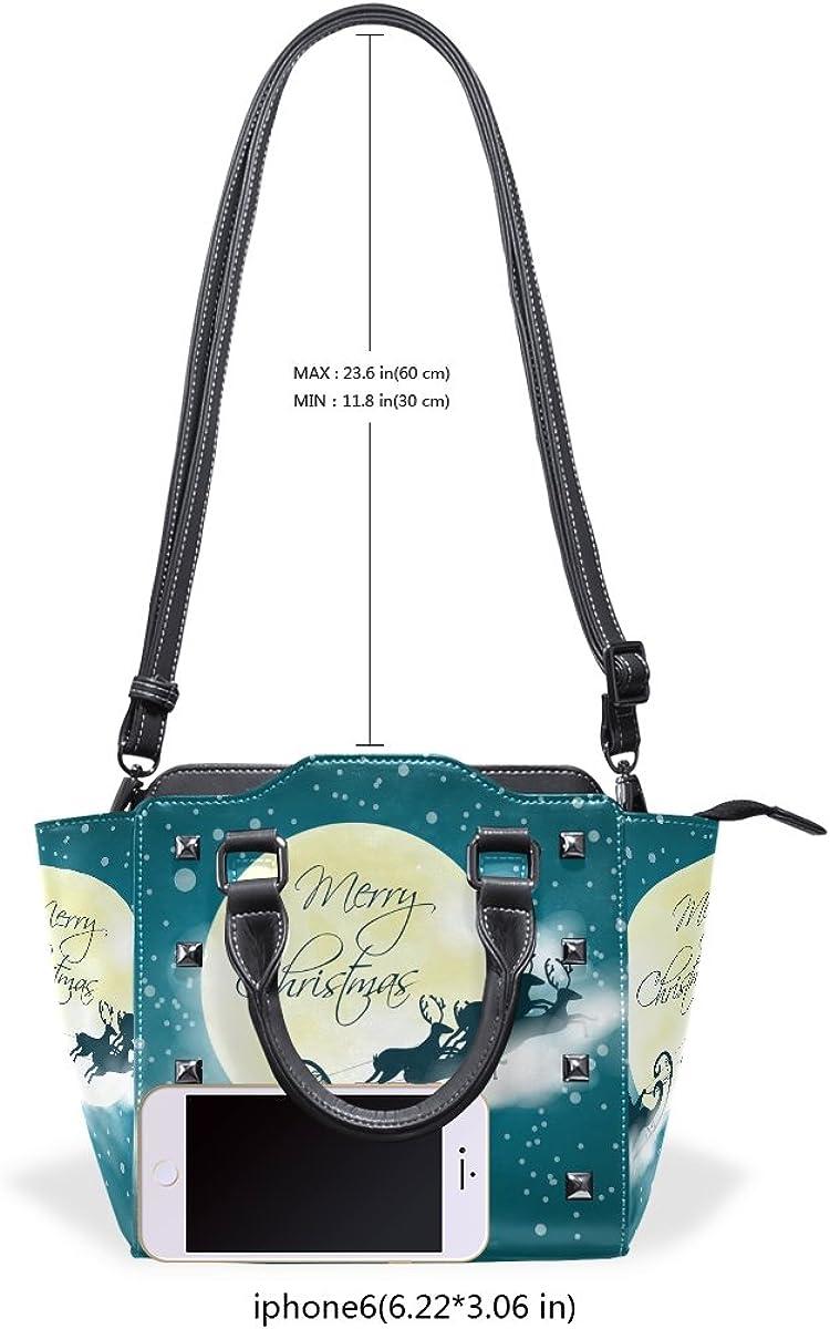 Jennifer PU Leather Top-Handle Handbags Amazing Merry Christmas Single-Shoulder Tote Crossbody Bag Messenger Bags For Women