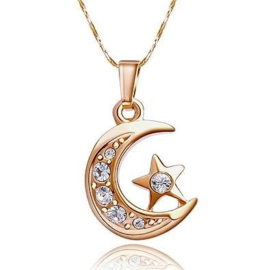 negozio online f329c a05f7 Yoursfs collana luna e stella oro placcato in cristallo ...