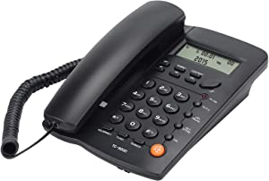 Uvital Desktop Corded Telephone, DTMF/FSK Mode, LCD Display, Basic Calculator, Calls Memory, Special Ring for VIP Numbers, M1,M2 One Touch Memory, in Use LED Indication, Last Number Redial