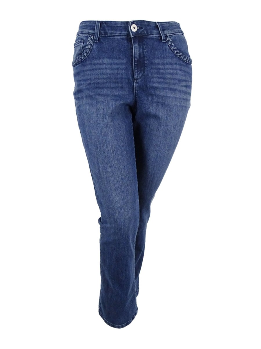 Style & Co. Womens Plus Light Wash Tummy Control Bootcut Jeans Blue 24W
