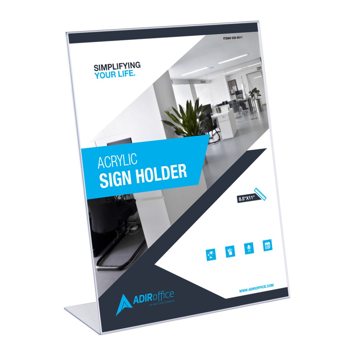Adir Plexi Acrylic 8.5'' X 11'' Single Slant Back Design Sign Holder - Clear - Pack of 6 by Adir Corp.
