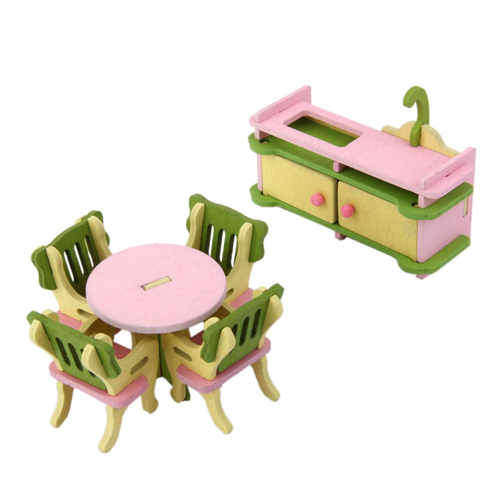 Buy Magideal Dollhouse Miniature Furniture Wooden Toy Kids Dinning Room Set  Online At Low Prices In India   Amazon.in
